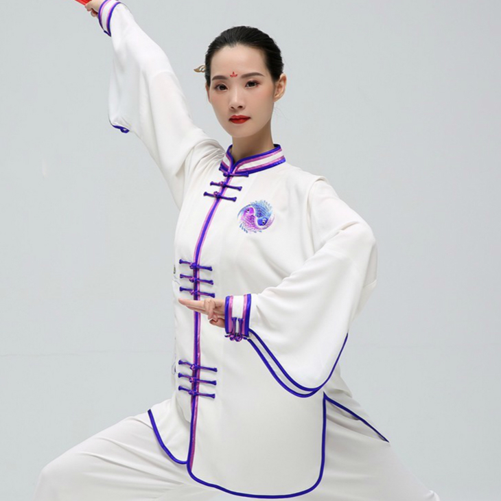 New Pattern Tai Chi Uniform Martial Art Clothing For Kung Fu Performance Unisex Tai Chi Fish White Color Two Sleeves Styling