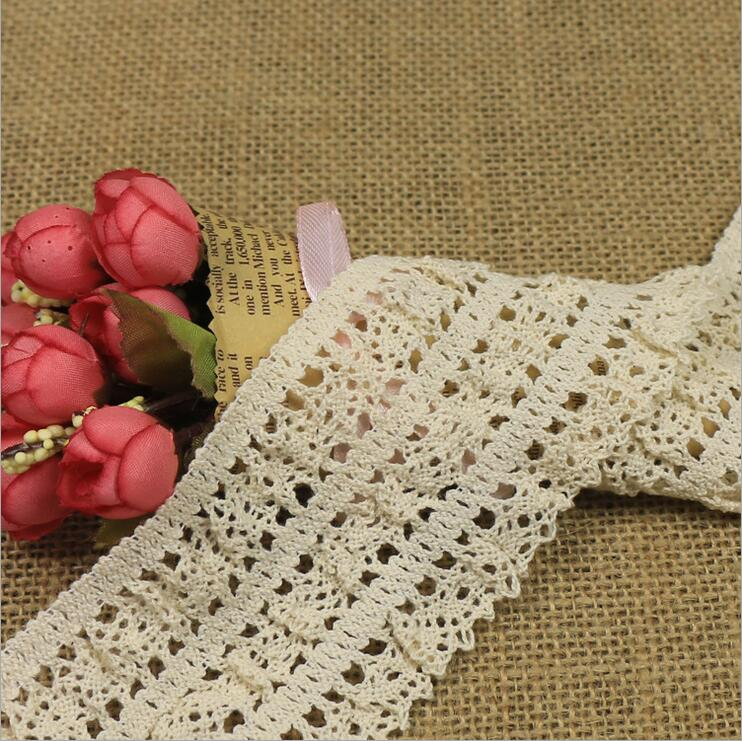 Hot Selling! Wholesale Price 6.5cm Off white Baby Hair Band Lace Trim Cotton Elastic Lace Trimming Factory