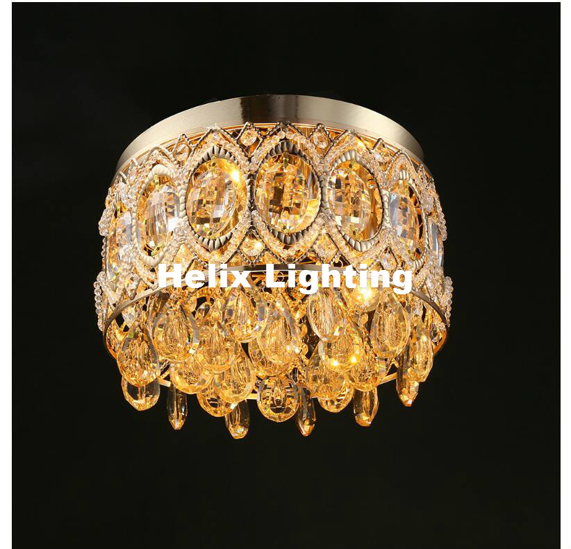 Free Shipping Modern LED Ceiling Light Golden Crystal Ceiling Lamps Bedroom Balcony Aisle Lights LED Round Small Corridor Light modern retro balcony entranceway aisle lights american brief iron single head christmas bells ceiling light free shipping
