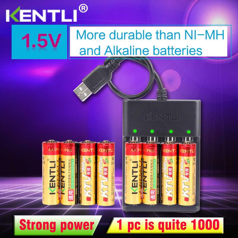 8 قطعة KENTLI 1.5 V AA PK5 2800mWh قابلة للشحن بطاريات ليثيوم أيون بطارية + 4 فتحات ليثيوم السريع AA AAA شاحن