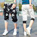 Korea folgado carga harém calções Calções dos homens com Crânio impresso verão casual calças capri tamanho M L XL XXL