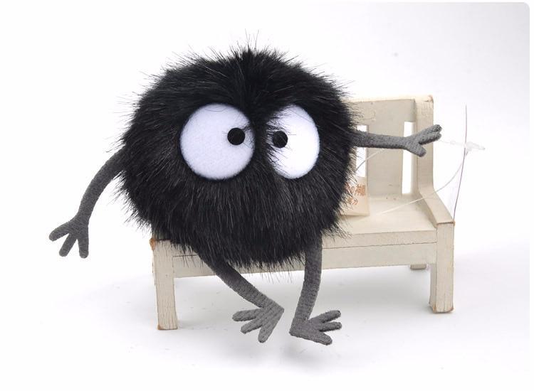 Dust Elf Doll Plush Toys Spirited Away Totoro Small Pendant Black Carbon Coal Ball Dust Elf Keychain Doll Toy Kid Birthday Gifts
