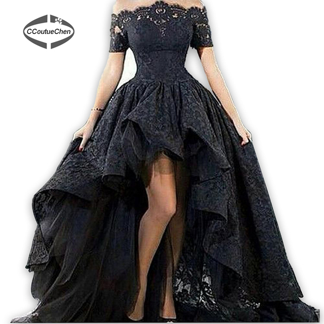 cafdfb0a03f Party Dresses Black Lace Off-Shoulder High Low Prom Dress Vestido De Festa  Arabic Design Ruched Formal Evening Gowns PDC-003