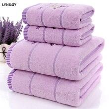 New 3pcs/set Luxury Lavender Womens 100% Cotton Purple White Towel Set toalhas de banho 1pc Bath brand 2pc Face Towels
