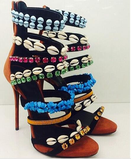 ФОТО Hot Selling String Bead Crystal Shell Decoration High Thin Heels Open Toe Summer Mixed-Color Leather Sexy Women Dress Sandals