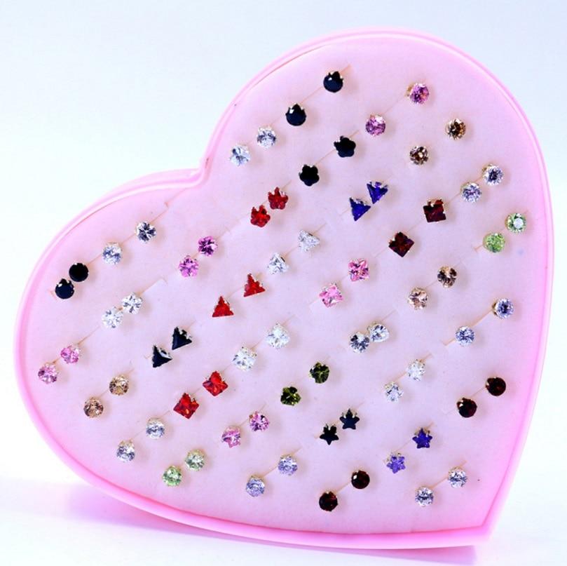 Fashion Mixing Crystal Rhinestones Zircon Stud Earrings 36 Pair/Set Shiny Lots of Earrings Jewelry For Women Girls Wholesale