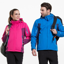 Fashion Outdoor mountaineering suit female large size waterproof jacket ski suit two-piece thickening men's three-in-one jacket pelliot outdoor jackets women s tide brand jacket three in one thickening fleece two piece mountaineering clothing female jacket