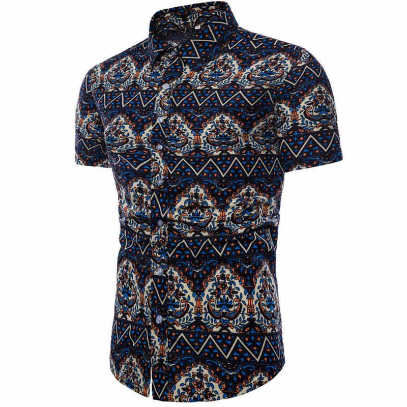 メンズ夏のファッションビーチハワイシャツブランドスリムフィット半袖花シャツカジュアルホリデーパーティー服 M-5XL