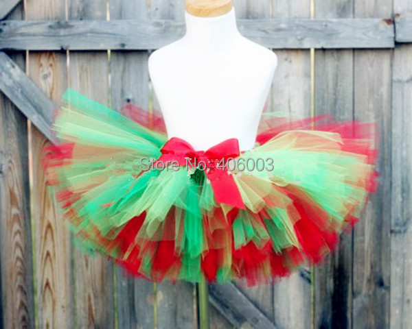 Free Shipping holiday sale handmade christmas tutu skirt girls fluffy christmas petti tutu green with red
