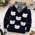 2015 nueva faul Dos Piezas de bebé de la manera del suéter del invierno del otoño ropa de bebé niños/niñas cardigan suéter de la capa de Los Niños suéter 2-6Y