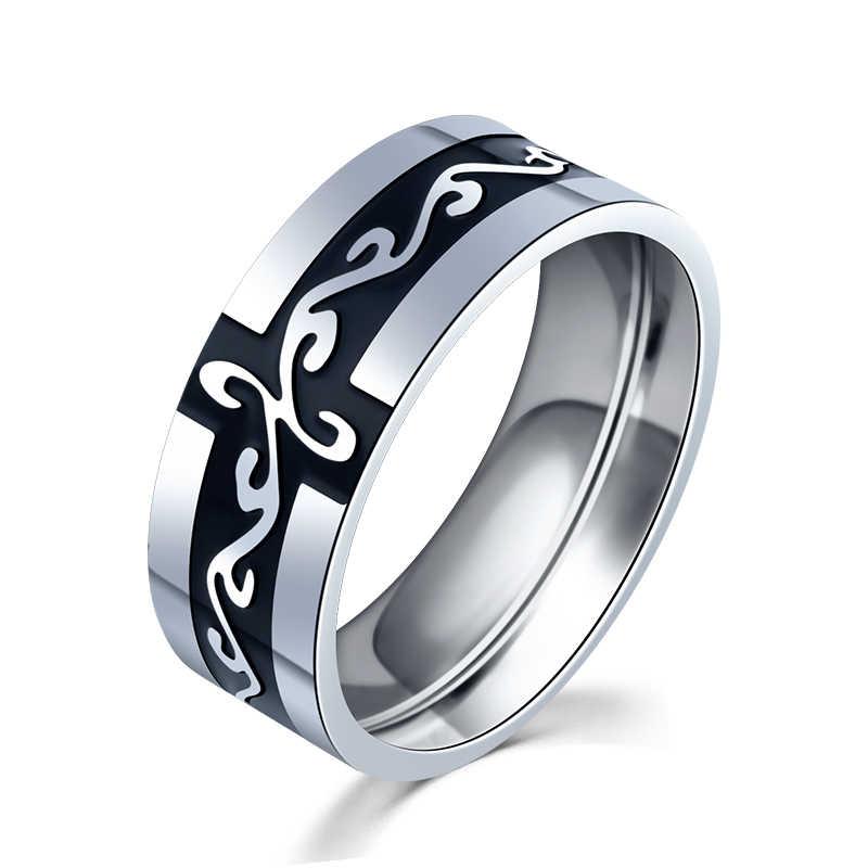 QFJZ021 แหวนไทเทเนียมมังกรรูปแบบ Anillos Pareja 7 มิลลิเมตร Bague Homme เครื่องประดับ Sieraden คู่แหวน Bague Homme ไวกิ้งแหวน Aneis