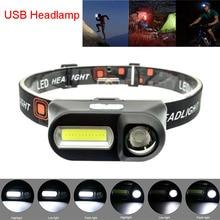 USB Headlamp 2 LED COB XPE Light Frontal Flashlight Torches 18650 Rechargeable Headlight Fshing Head Lamp Flash Light Camping