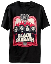 Funny Cotton T Shirt Gift O-Neck Short Sleeve Black Sabbath - Red Flames Shirts For Men