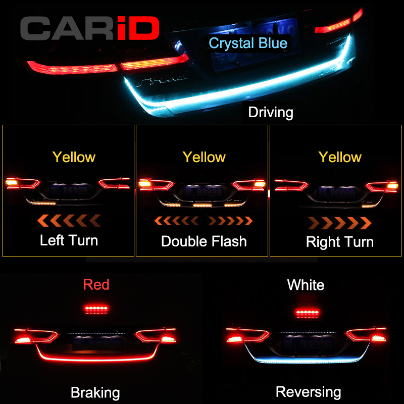 CARiD Trunk Strip Light LED Car Dynamic Streamer Tail Lights For Ford Focus Kuga Fiesta Ecosport Edge Explorer Fusion Mustang цена