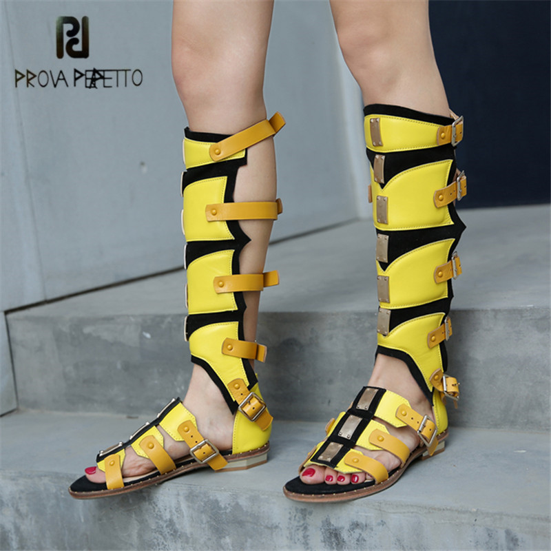 Prova Perfetto Yellow Gladiator Flat Sandals Summer Boots Straps Women Knee High Boots Casual Flats TWO Wear of Sandal недорого