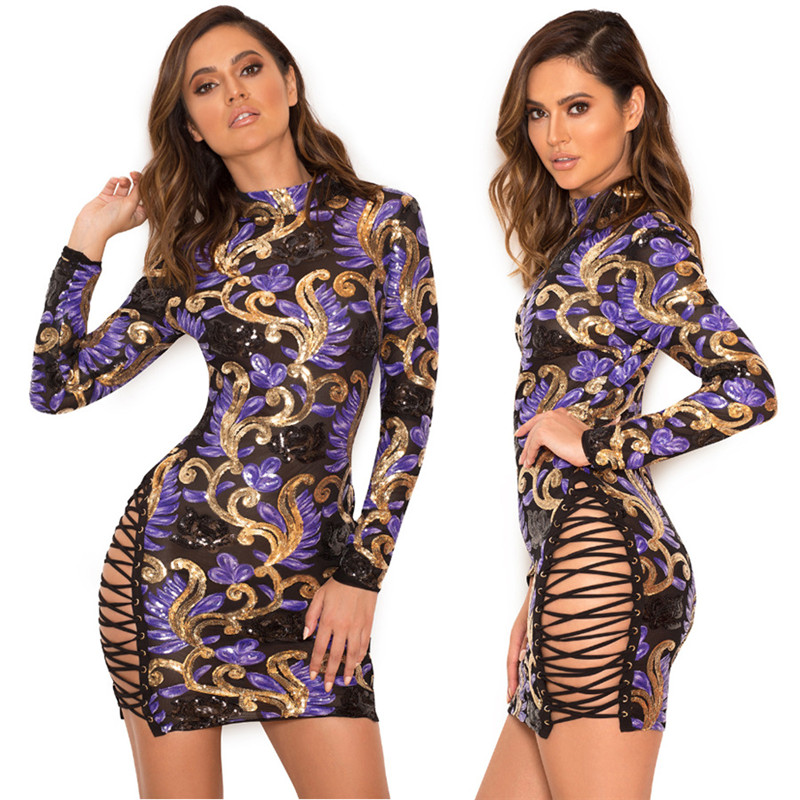 Aliexpress Com Buy Side Lace Up Long Sleeve Sequin Dress