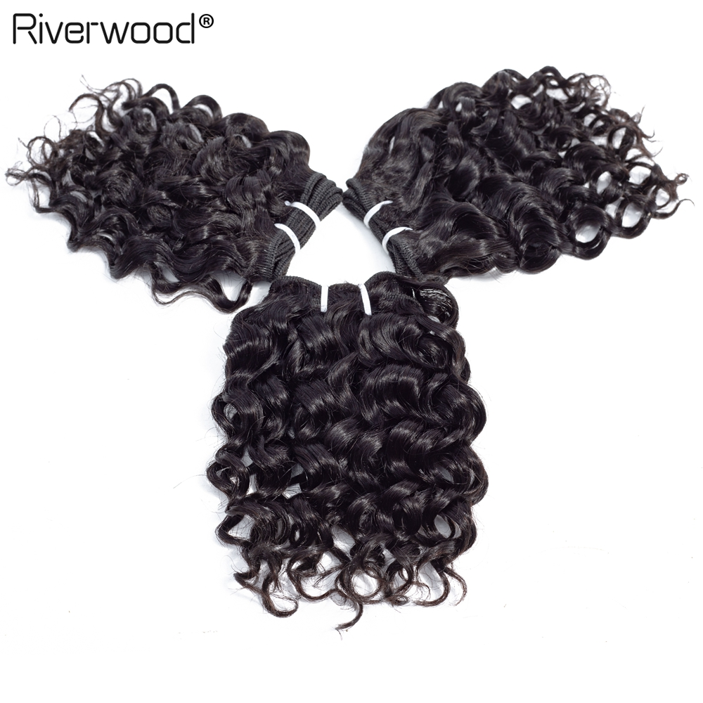 Hair-Bundles Weave Human-Hair Curly Short-Cut Natural-Color Double-Drawn Brazilian 6pieces