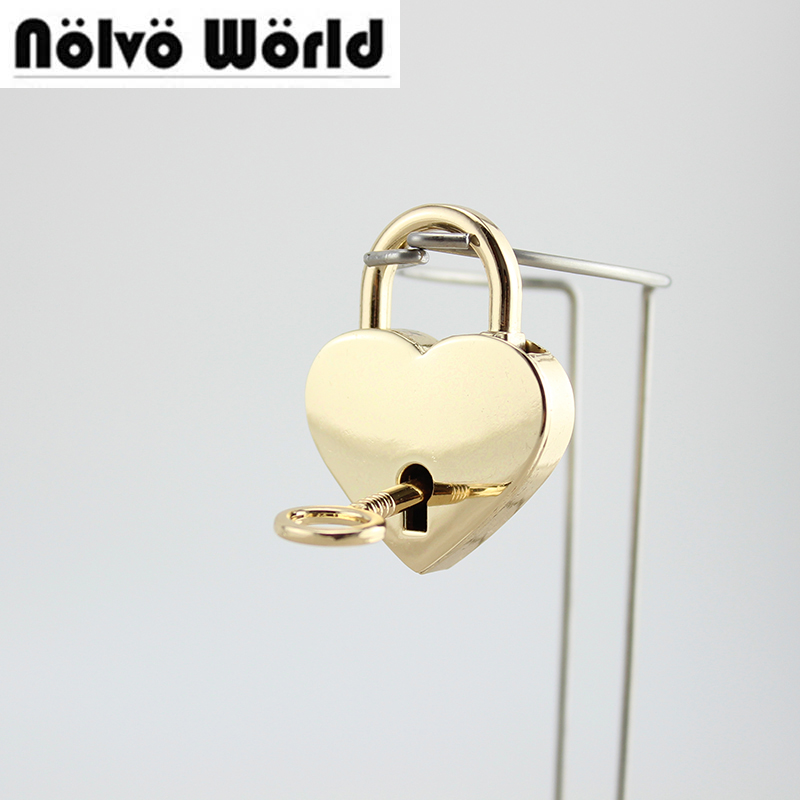 20pcs 40*30mm Light Gold Sweety Heart Lock Purse Bags Padlock And Key,suitcase Small Box Pad Lock