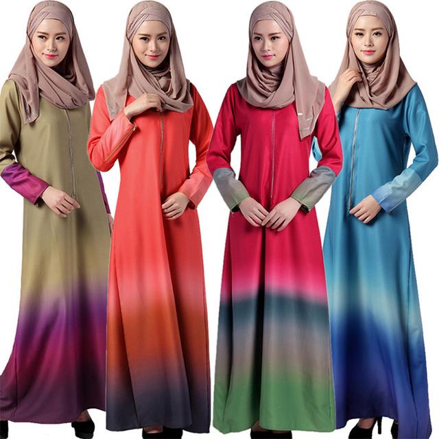 2016 Moda Vestido Maxi Abaya Vestuário Muçulmano Manga Comprida Soltas Casual Gradiente Plus Size Malásia Vestido Kaftan Árabe Dubai