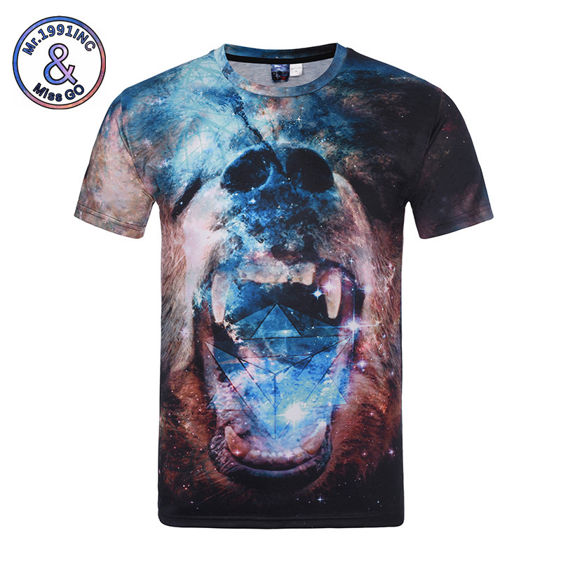 Men 3D Printed T Shirt 2017 Summer Fashion Starry Sky And Orangutan Printed T Shirt Men Casual Top Tees Shirts M-4XL