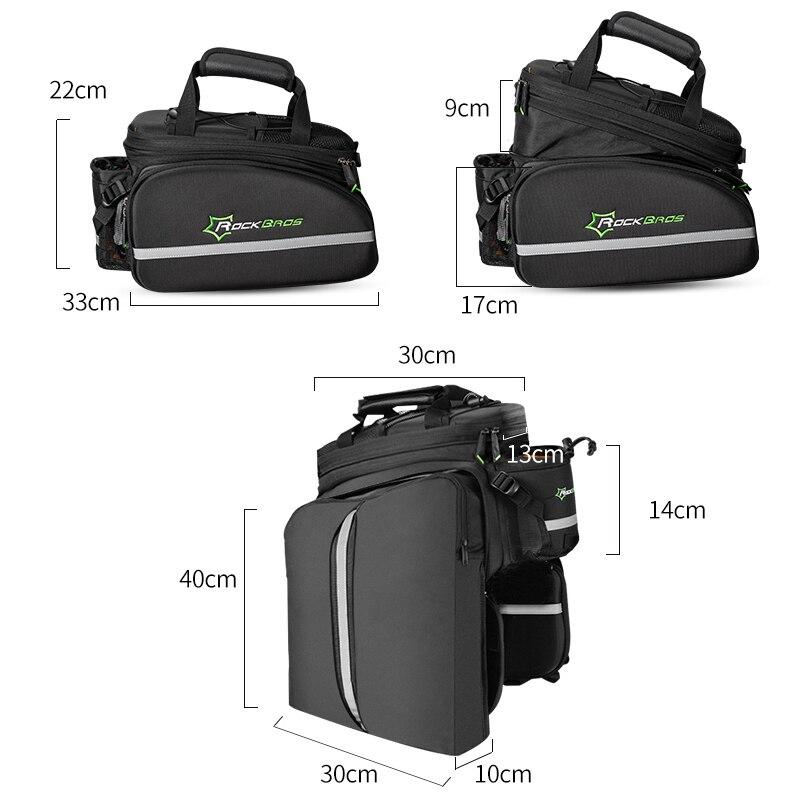 ROCKBROS 3 в 1 велосипедная Сумка водонепроницаемая Светоотражающая многофункциональная MTB велосипедная сумка Паньер дорожная сумка для багажа