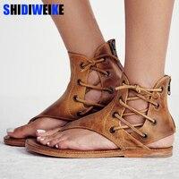 Женские сандалии в винтажном стиле, летняя женская обувь, сандалии-гладиаторы, шлепанцы для женщин, пляжная обувь, кожаные сандалии на плоск...