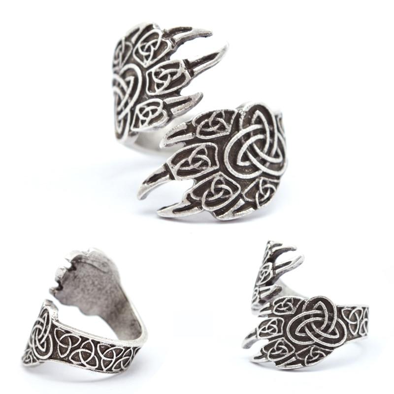 1db Celtics Wolf Paw gyűrű férfiaknak Norsei vikingek Gyűrűk állítható medve gyűrűk Viking ékszerek RG18