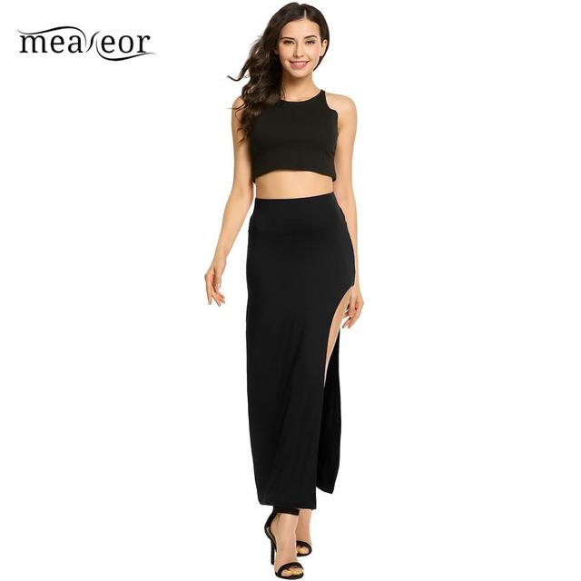 None Package High Elastic Waist Women Hip Full Long Pencil Skirt Asymmetric Backless 10