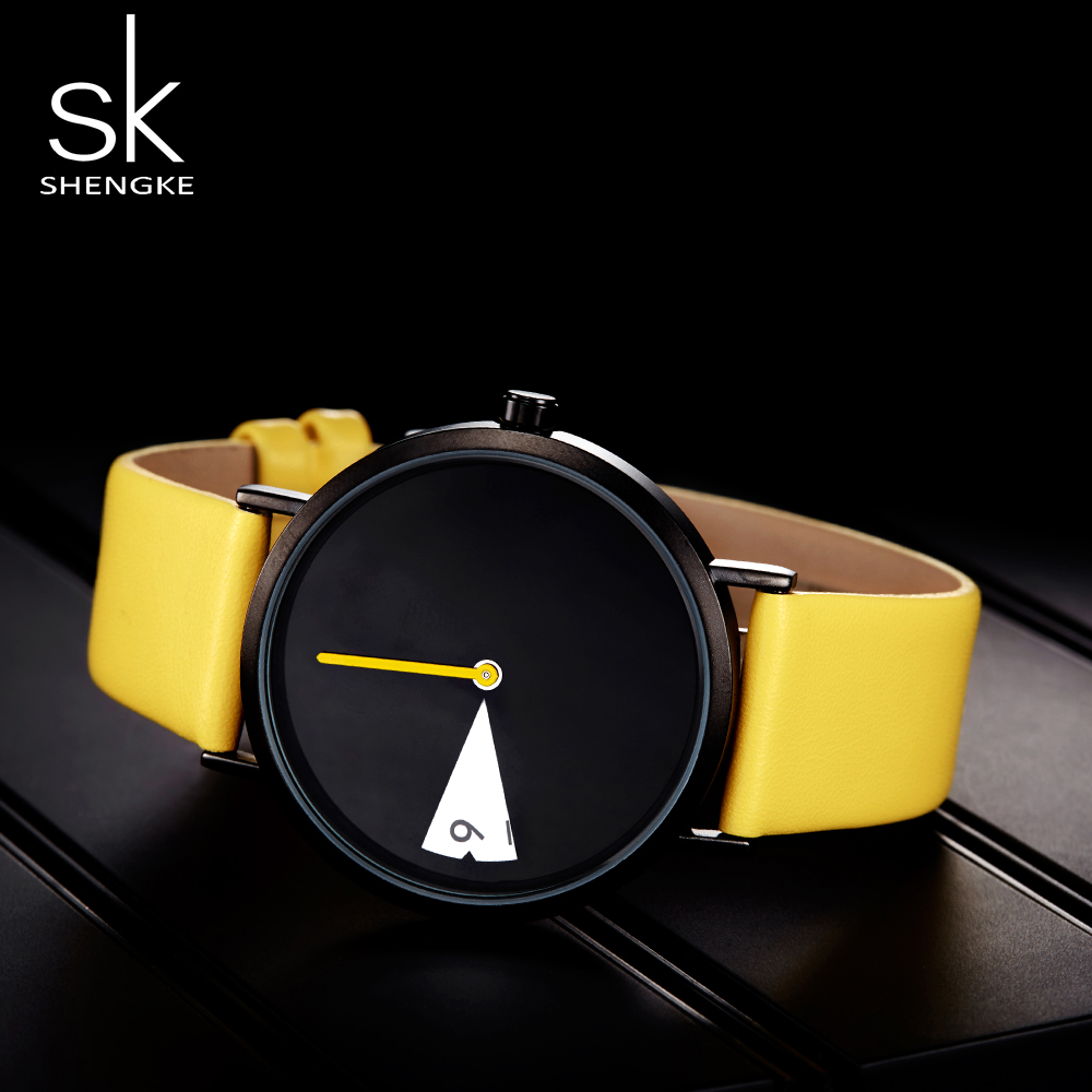 SHENGKE Watch New Yellow Leather Strap Casual Style Women Watches Quartz Ladies Watches Creative Clock Gift relogio feminino-in Women's Watches from Watches