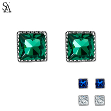 цена SA SILVERAGE 925 Sterling Silver Stud Earrings for Women Fine Jewelry Green Blue White Gemstones Silver Earrings Female онлайн в 2017 году