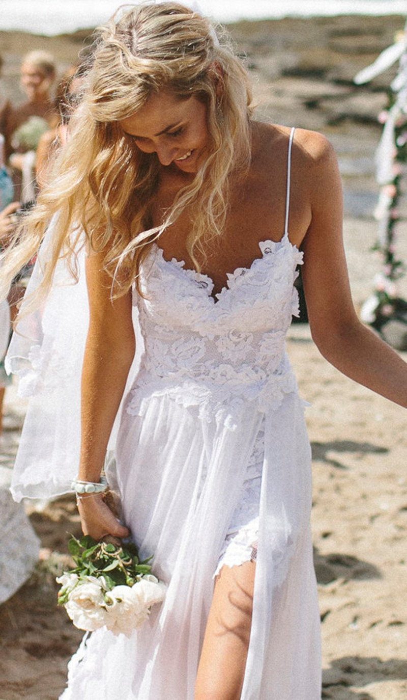 Vintage Chiffon Dreamy Spaghetti Straps Prom Gown High Split Side White Beach Wedding Party Dresses Robe De Mariee