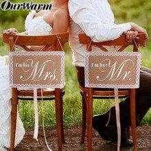 Silla de arpillera OurWarm, banderines para novio y novia, accesorios para fotos, aniversarios, letreros colgantes, conjunto de sillas, decoración Vintage para bodas
