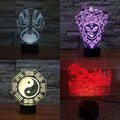 Máscaras Da Ópera Tradicional chinesa Maitreya Jesus Cristo o Senhor 3D Ilusão Óptica Luz Da Noite do Sensor de Toque Led Candeeiro de Mesa Decoração de Casa