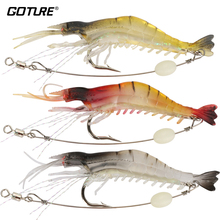 Goture 5pcs/lot Silicone Soft Bait 8.5cm 6g Luminous Shrimp Fishing Lure Artificial Baits Carp Fishing Tackle