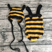 Newborn hat baby romper set photography bee clothes costumes crochet knit baby bonnet fotografia newborn photo accessories