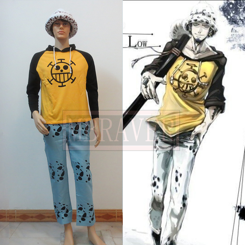 Anime cosplay one piece Trafalgar Law cosplay Trafalgar Law costumes (Clothes + pants + hat)