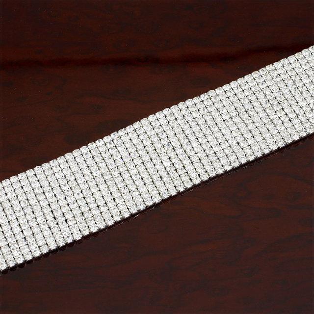 Choker Necklace Stretch 12 Row Rhinestone Elastic Cord