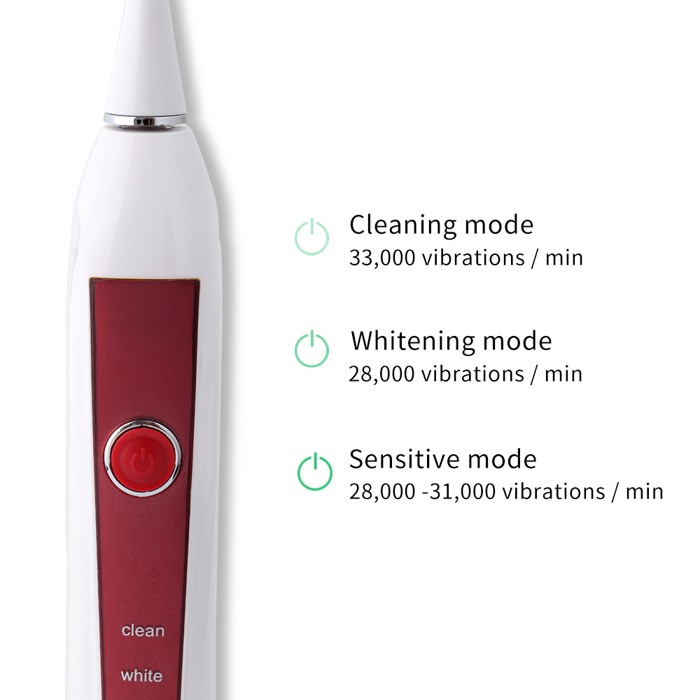 HERE-MEGA Whitening Electric Toothbrush Induction Charge Sonic Tooth Brush Electric Waterproof Deep Clean 606 Red