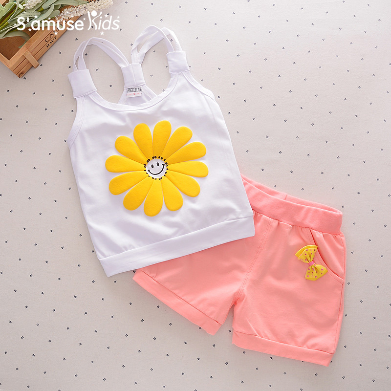 1-2-3-4 years Summer Vest + Shorts2017 New Children's Clothing Sets Baby Girls Clothes Anime Girl Sleeveless Kids Clothes Suits