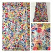 New Summer Print 100%Silk Chiffon Fabric For Women Dress 140cm Wide 6Momme Thin Georgette Fashion cloth DIY Sewing DSF32