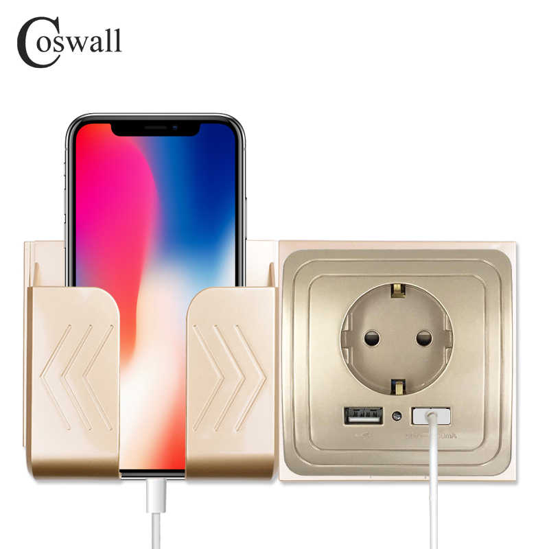 COSWALL USB Socket Power Outlet Pop Socket With EU Plug 2A Wall Charger Adapter Electric Wall Charger Adapter Charging USB