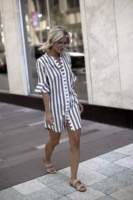 summer Women blouses Horn Sleeve Striped Half Sleeve Tops Long girl Blouse Ladies striped trumpet sleeves female  long shirt top 1