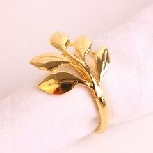 12pcs / lot SHSEJA Деликатный салфеткой кольцо металла металлизированный золотой лист салфеткой кольцо моды клен бумажное полотенце пряжки настольные украшения