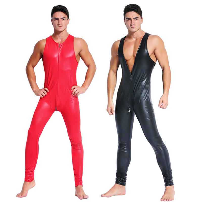 Red Black Leather Jumpsuit Men Skinny Stretch PVC Zip Sleeveless Open Crotch Bodysuit Gay Sexy Bodycon Clubwear Vinyl Catsuits