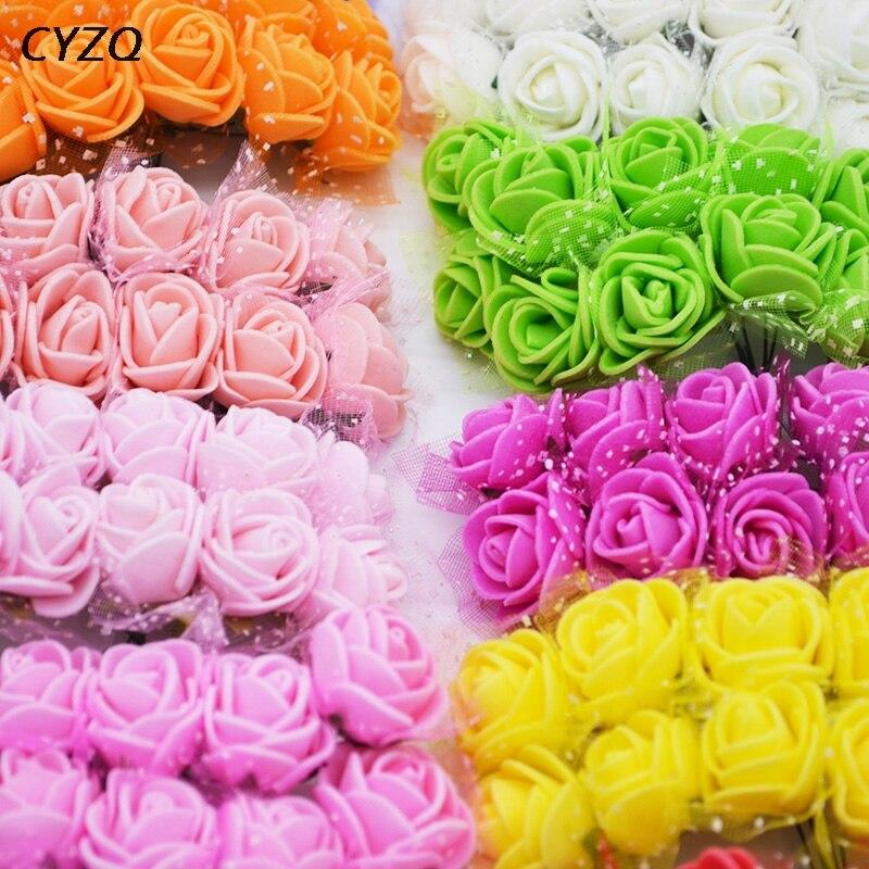 144 шт. мини пены розы Искусственные цветы Букет Многоцветный свадебный цветок розы украшения DIY Скрапбукинг поддельные розы