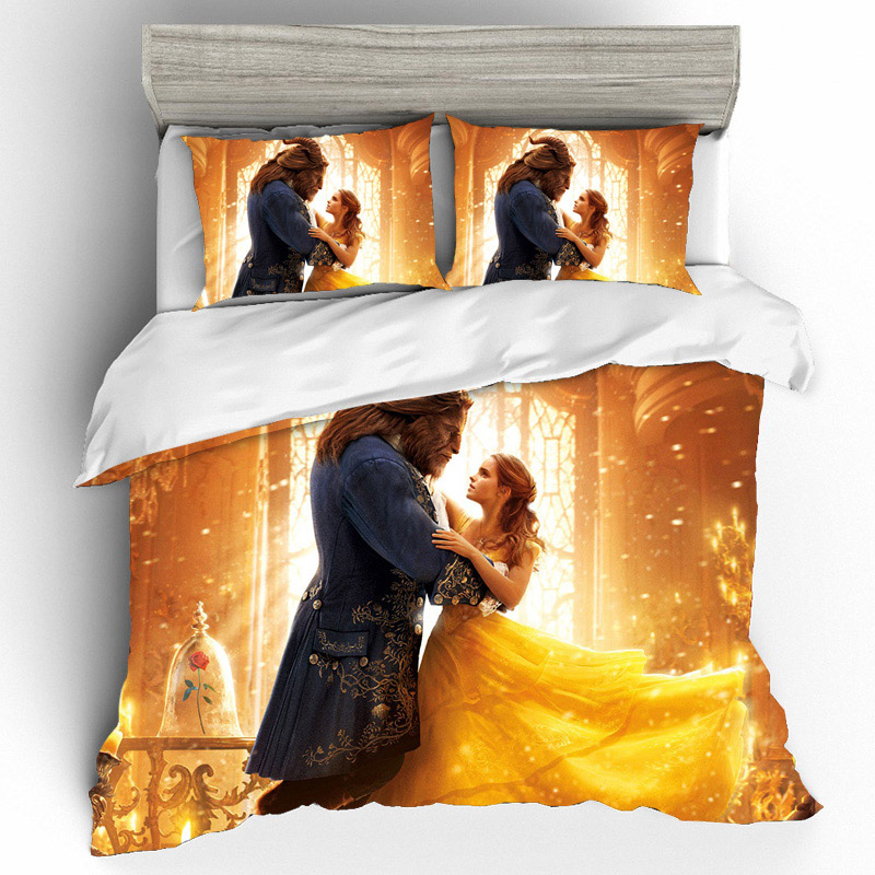 King Size 3d Printing Bedding Sets Beauty And The Beast Set Duvet Cover Bed Sheets Pillowcases Linen Home Textile Buy At Price Of 26 05 In Aliexpress Com Imall