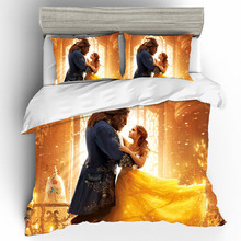 King Size 3D Printing Bedding Sets Beauty and the Beast Set Duvet Cover Bed Sheets Pillowcases Linen Home Textile