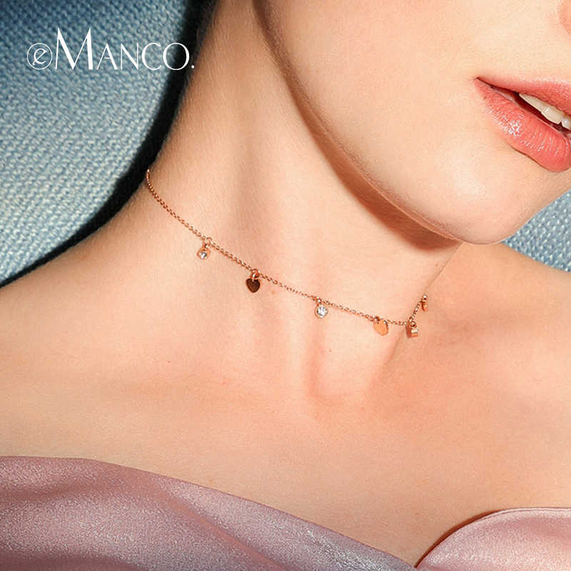 e-Manco Simple Design Heart Pendants Necklace Two Colors Luxury Chains  statement Stainless Steel Necklace Hot Fashion Jewelry