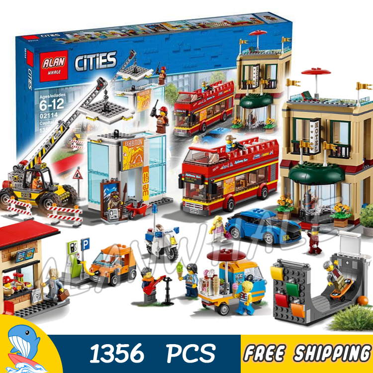 1356pcs City Capital 2-story Hotel Museum Construction Site Crane 02114 Model Building Blocks Toys Bricks Compatible With lego gray nonslip treadle momentary power foot pedal switch ac 250v 10a spdt no nc