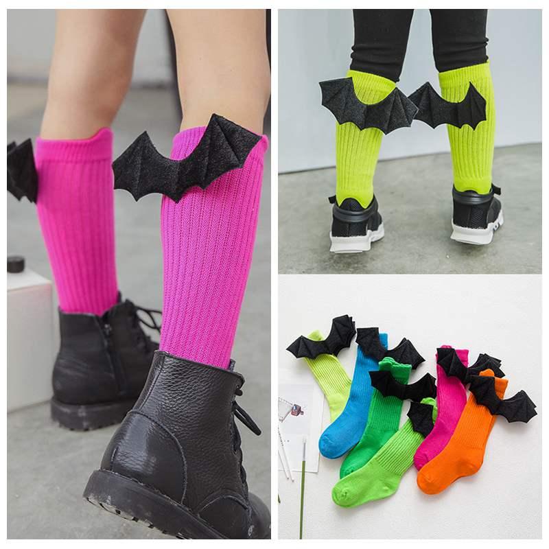 Cute Baby Socks Cotton Girls Boys Knee High Socks With Bat Angel Wings Toddler Kid Cartoon Long Tube Boot Sock Leg Warmer Socks